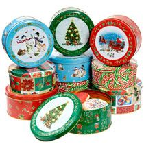 Bulk Round Holiday-Printed Cookie Tins with Lids at DollarTree.com ...