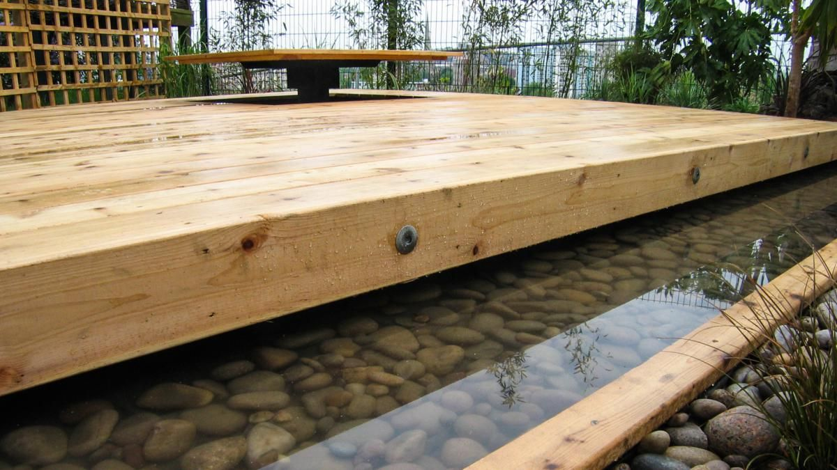 Decking with water feature moat sheffield garden design for Garden decking features