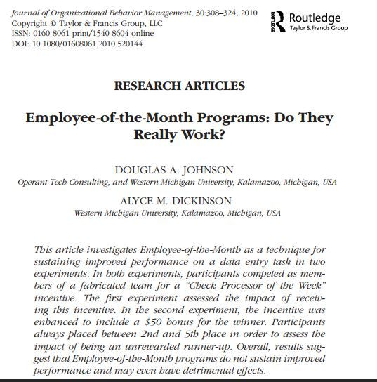 Journal of OBM, Free PDF Employee-of-the-Month Programs Do they
