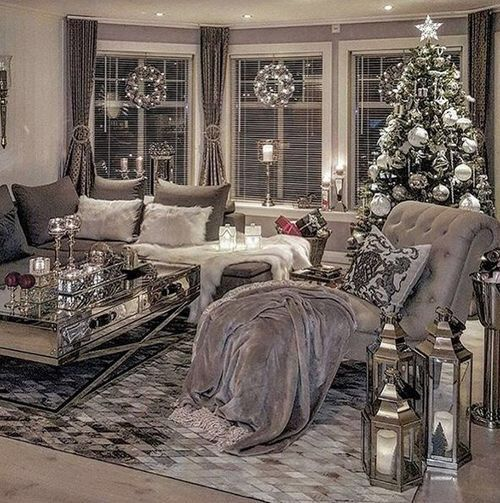 I N S T A G R A M Manarelsayed P I N T E R E S T Manarelsayed Silver Living Room Christmas Living Rooms Cozy Living Rooms