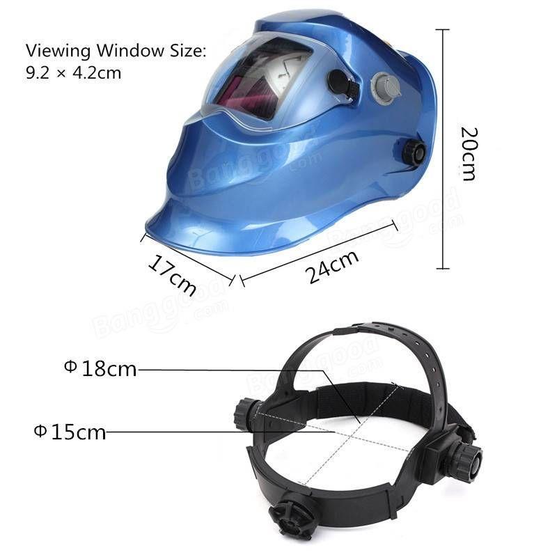 Solar Auto Darkening Welder Mask Helmet Electrowelding Welding TIG MIG Welder Lens Mask Dark Blue/Red