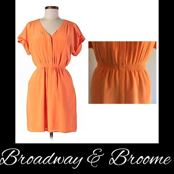 "BROADWAY & BROOME  SILK ORANGE V-NECK DRESS BROADWAY & BROOME  SILK ORANGE RUCHED V-NECK DRESS  SZ 10 38-40"" BUST 33"" LENGTH BODY: 100% SILK LINING: 100% POLYESTER  RETAILS $160 GOOD CONDITION Broadway & Broome Dresses"