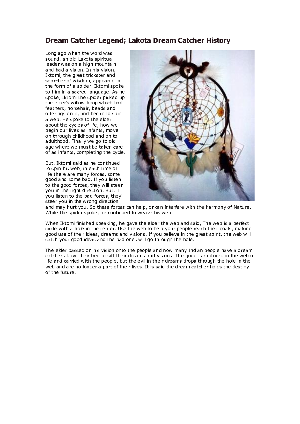 History Of Dream Catchers Captivating Lakota Dream Catcher Legend  Dream Catcher Legend Lakota Dream