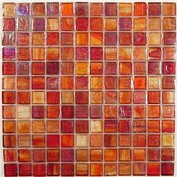 Botanical Glass 1 X 1 1 X 1 Orange Glossy Iridescent