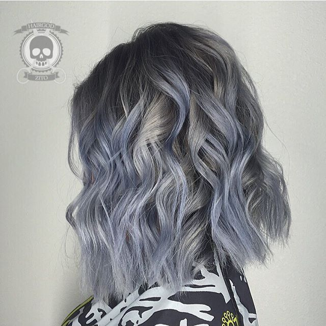 Blue Steel Gray Hair Color And Curly Lob Messy Lob By Rickey Zito