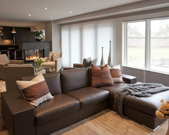 Best Brown Couch Grey Walls Contemporary Family Rooms Brown 640 x 480