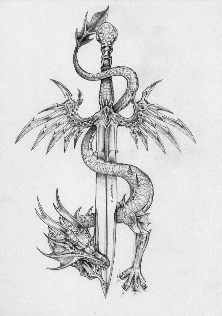 Photo of Der Drache und das Schwert fliegen von gesielmac auf DeviantArt