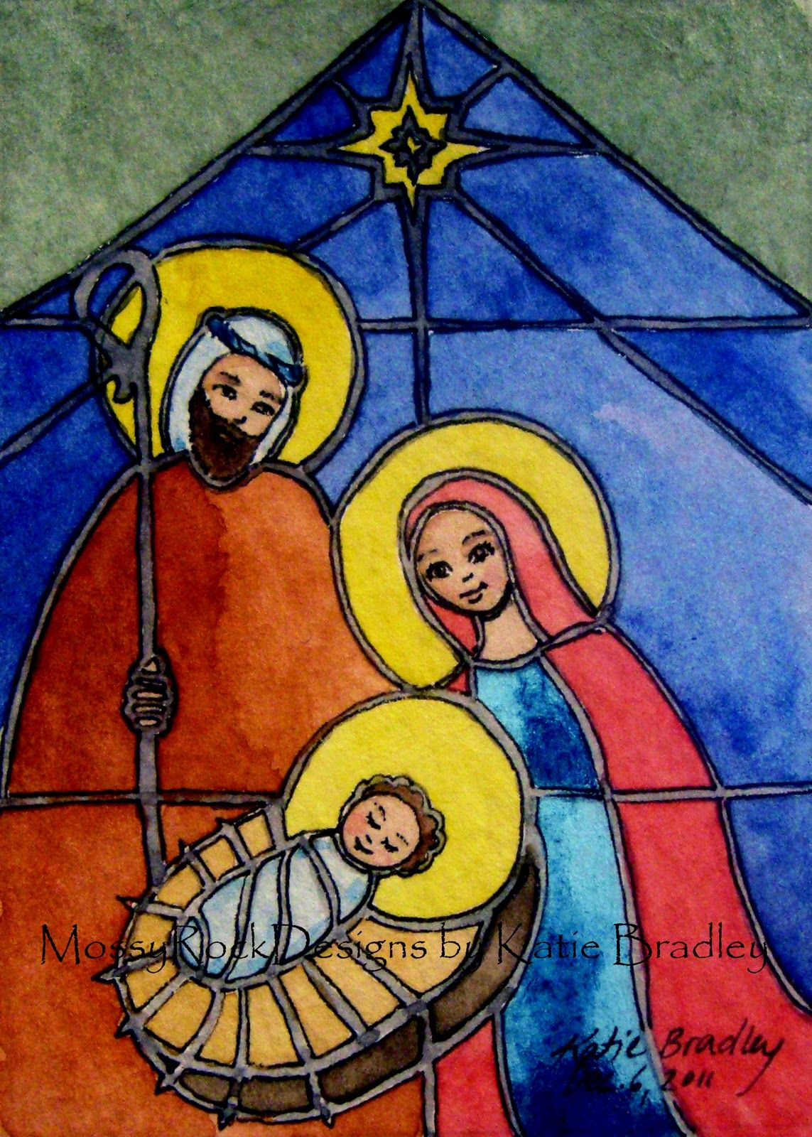 Mossyrockdesigns By Katie Bradley December 2011 Stained Glass Christmas Nativity Painting Nativity