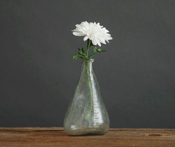 Vintage French Glass Baby Bottle Vase Antique Mid By Hindsvik