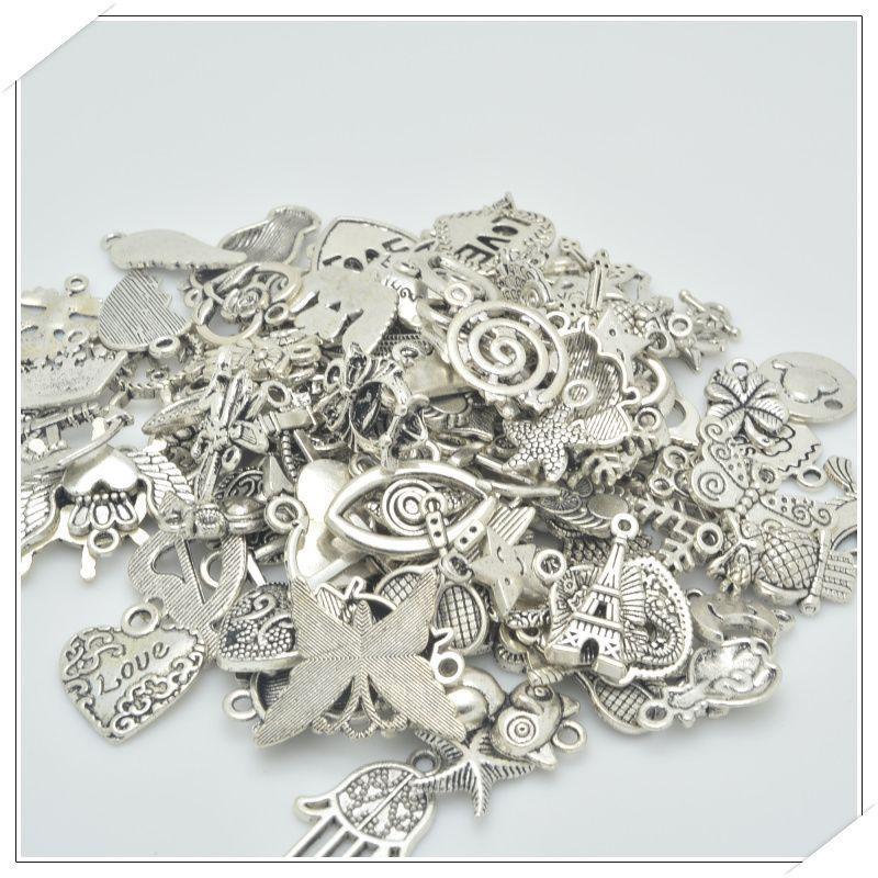 Spedizione gratuita!  100 pz/lotto misto d'argento tibetano di fascino 30-50 specie raccordi in lega per la collana del braccialetto diy monili che fanno