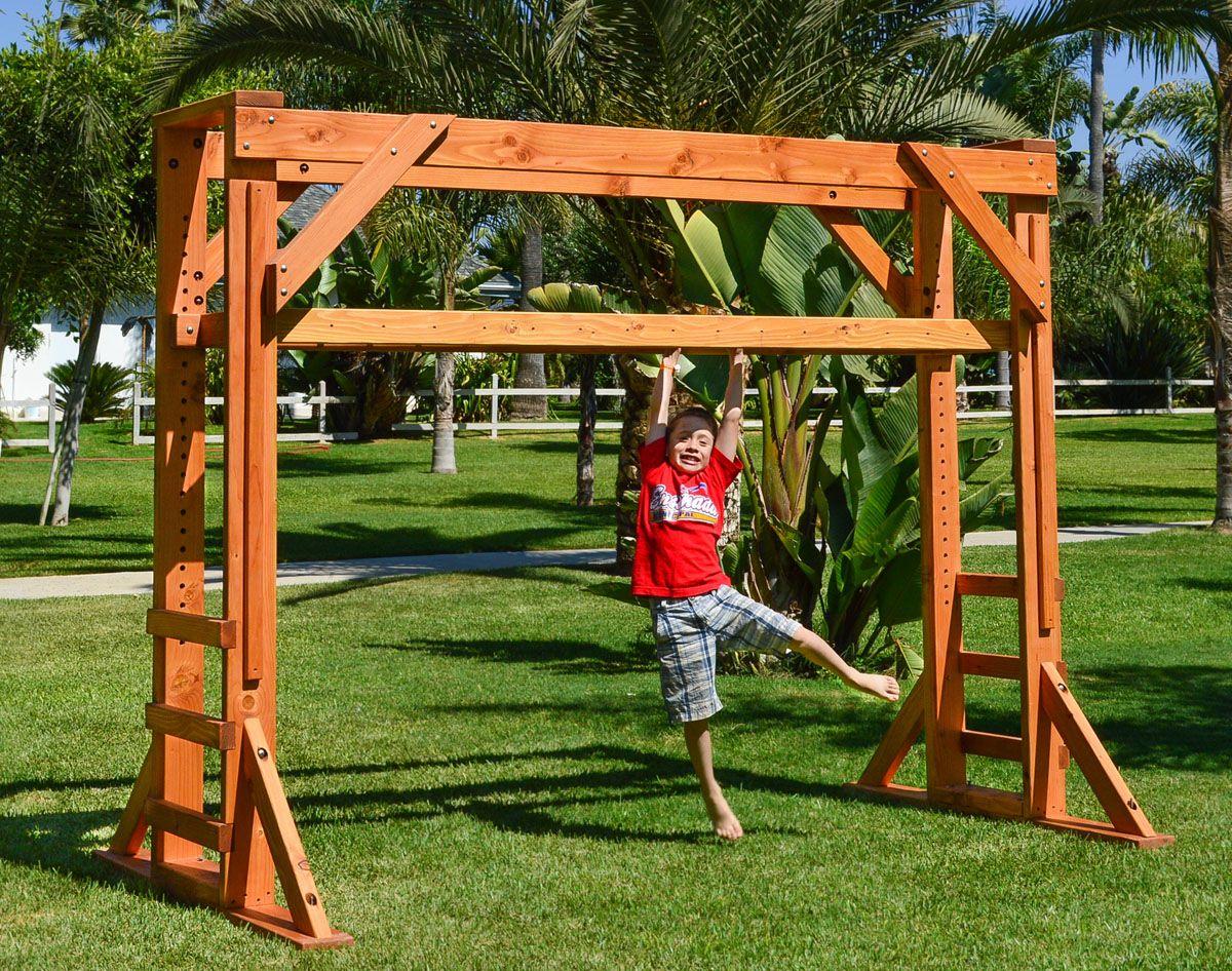 Sheldon S Monkey Bar Set Forever Redwood Monkey Bars Indoor Monkey Bars Diy Monkey Bars Backyard diy monkey bars