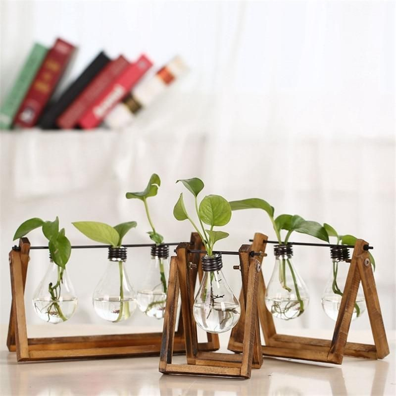 Solid Wood with Bulb water Plant Home Decor is part of Home Accessories Decor Vase - Brand Name IAMPRETTY Material Wood Style Pastoral Theme Plant Type European, American, Modern Size Large, Medium  Small Occasion Office, Cafe Shop, Study, Parlor, Hotel Room, Master Bed