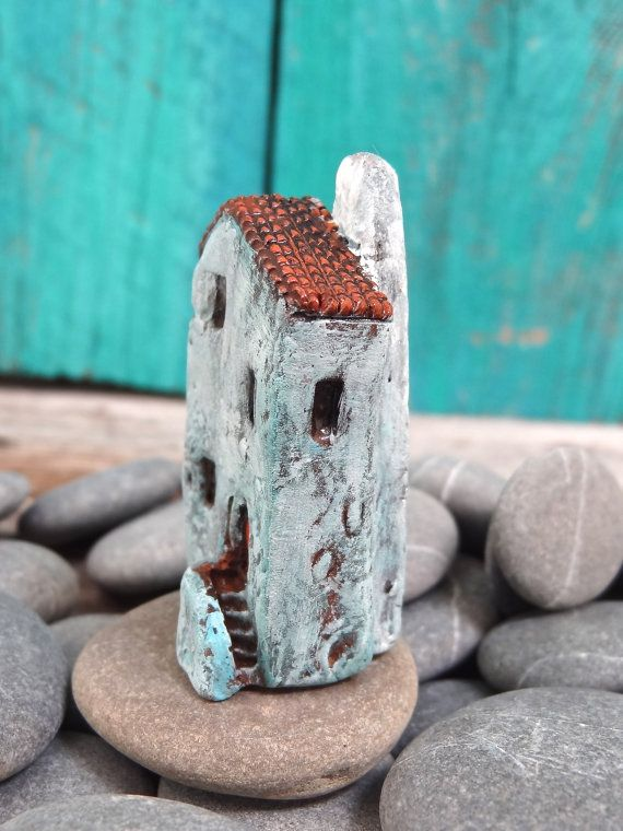 Miniature BLUE old house with stairs OOAK by theCherryHeart