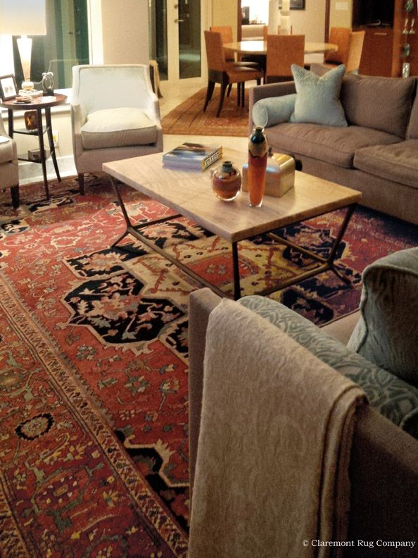 Folk Art Antique Serapi Carpet In Living Room With