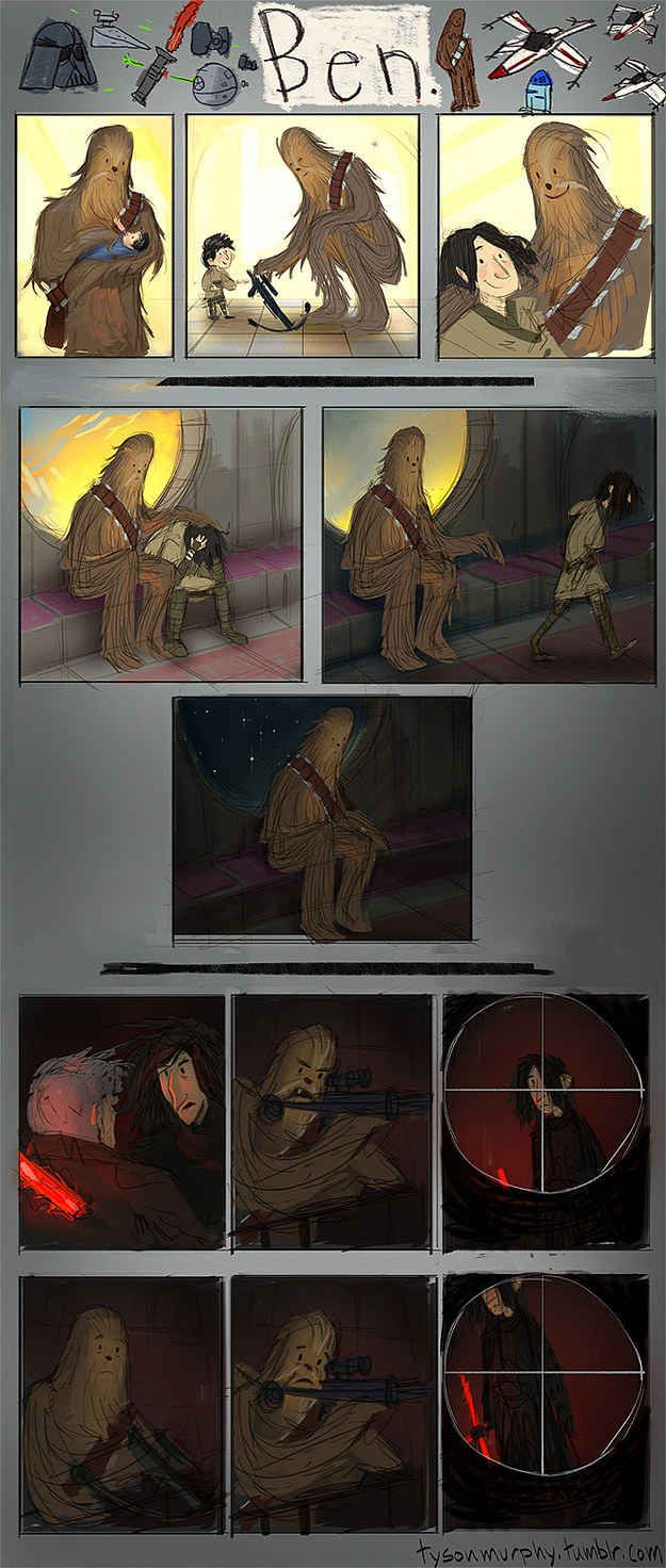 Artist Tyson Murphy breaks all our hearts by showing us what Chewie's point of view may have been.