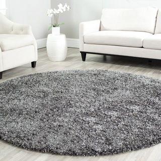 safavieh handmade malibu charcoal grey shag rug 7u0027 round - Grey Shag Rug