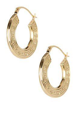 14k Yellow Gold Shiny Textured Greek Key Small Hoop Earrings