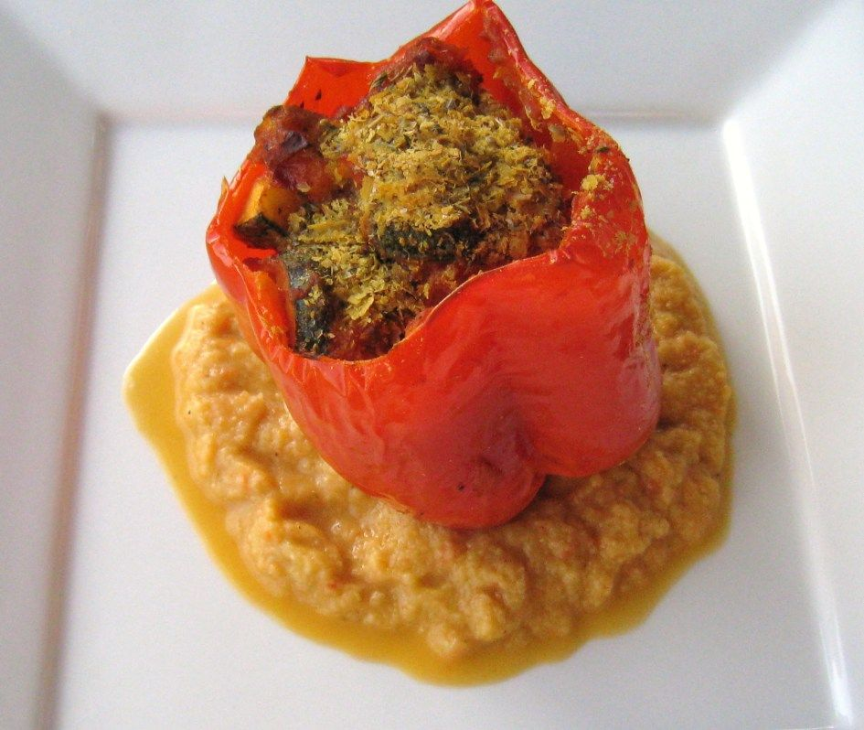 Roasted red pepper with zucchini puree