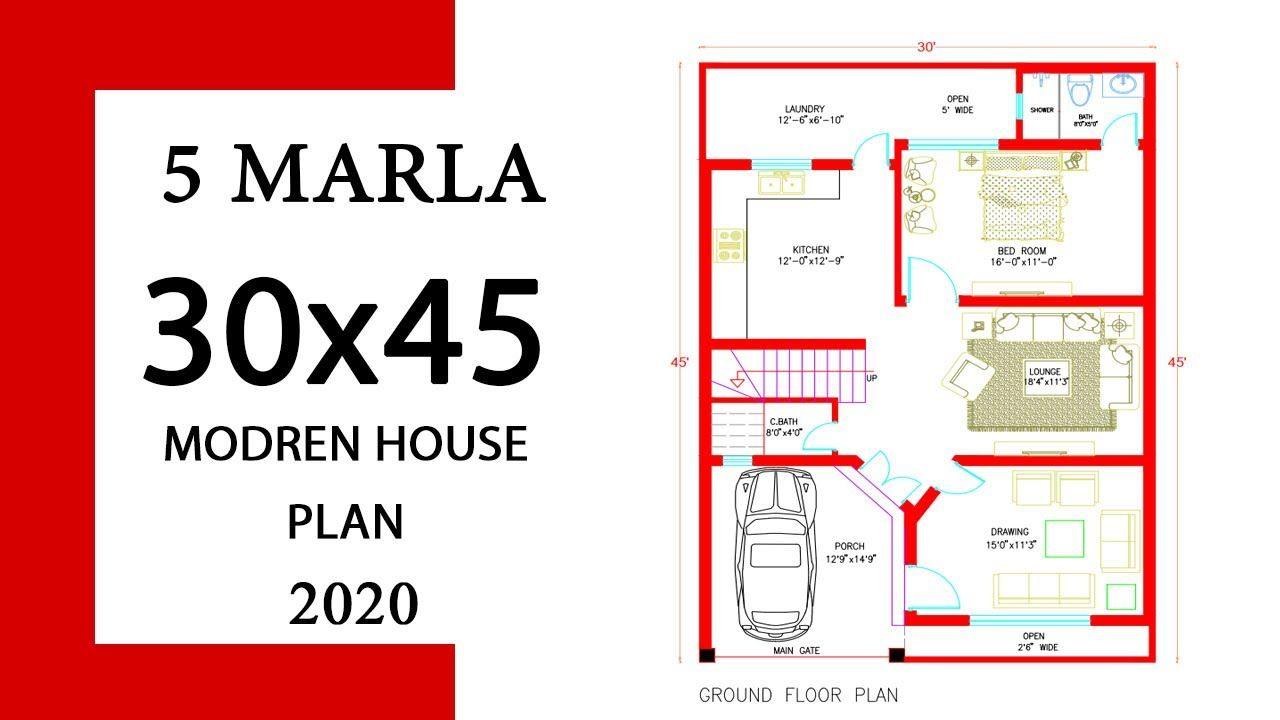 5 Marla House Map 30x45 House Plan 30 X 45 Ghar Ka Naksha House Plan Design 9x13m With 1 Bedroom House Map Home Design Plans Duplex House Design