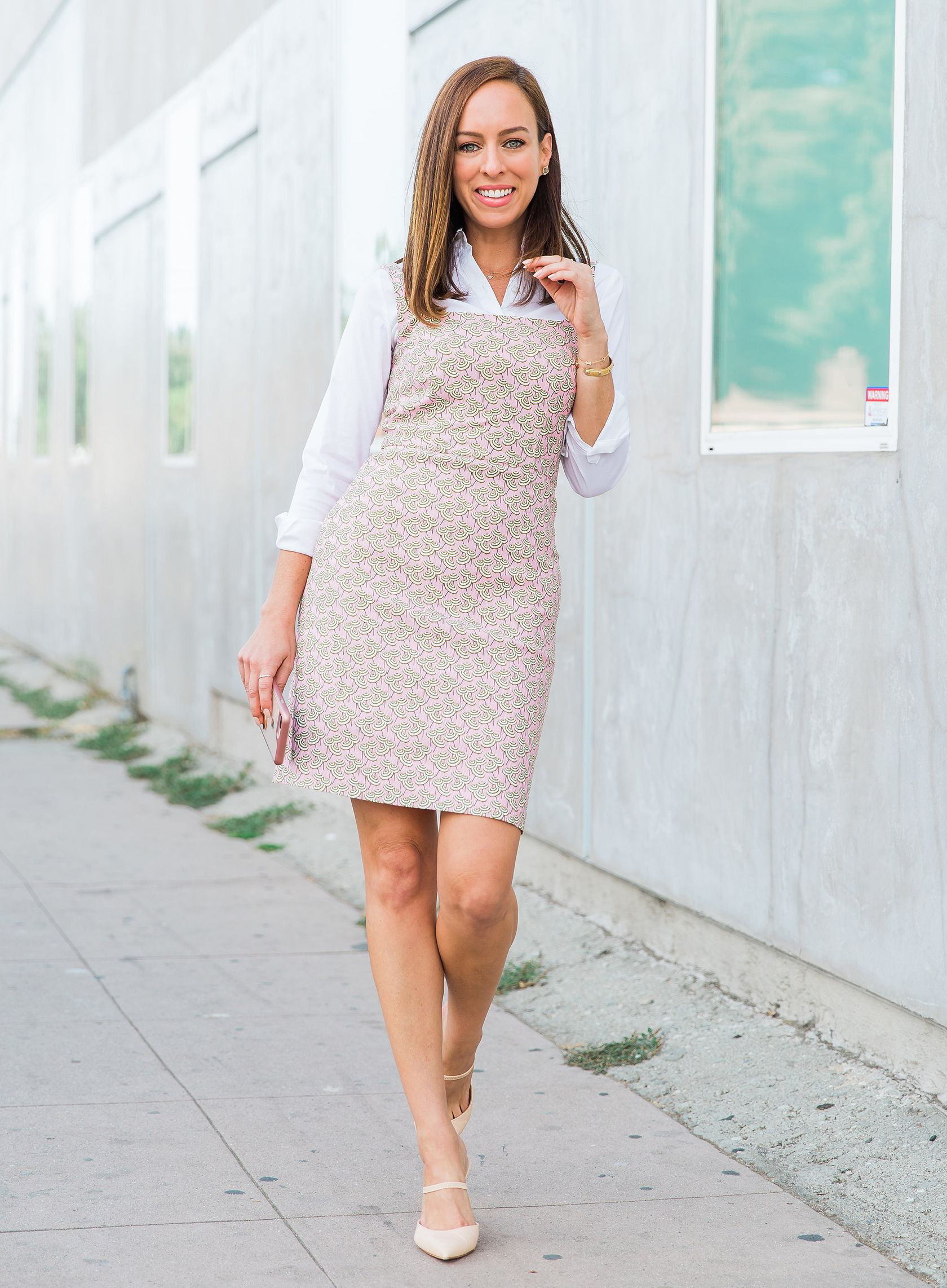 dd35fbdea3b7 Sydne Style shows office outfit ideas in j crew printed sheath dress  #workoutfit #officeoutfit