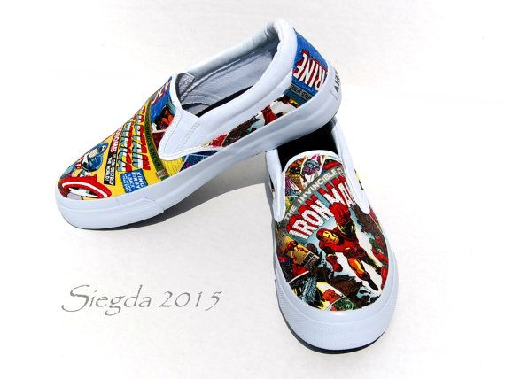270b07975617c2 Marvel Comic Book-Mens Slip On-Hulk-Xmen-Captain America-Iron  Man-Spiderman-Geek Chic-Custom Decoupage Shoes-boyfriend gift-