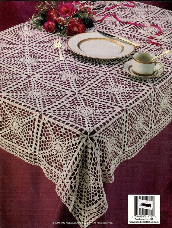 Crochet Pattern Book 2 Elegant Tablecloths 10 Bedspread Weight