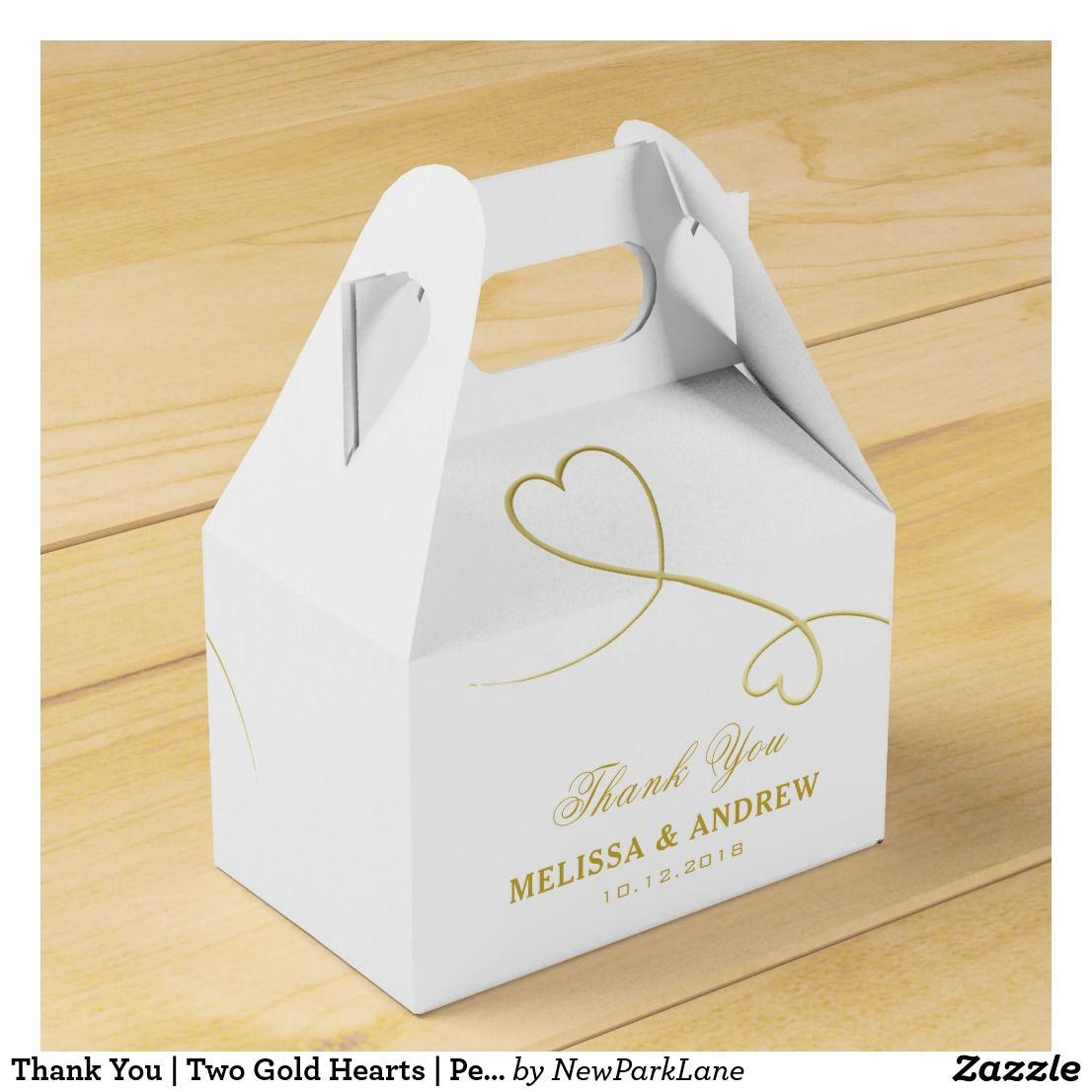 Thank You | Two Gold Hearts | Personalized Wedding Favor Box ...