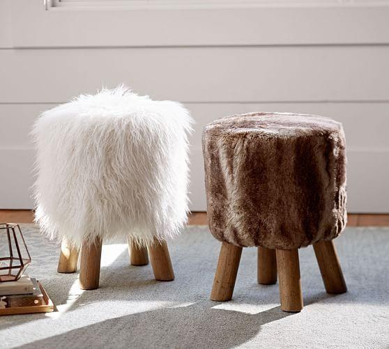 Mongolian Faux Fur Stool Faux Fur Stool Wooden Footstool Stool