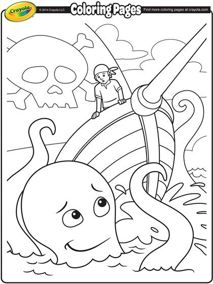 Pirate Ship And Giant Sea Creature On Crayola Com Pirate Coloring Pages Free Coloring Pages Crayola Coloring Pages