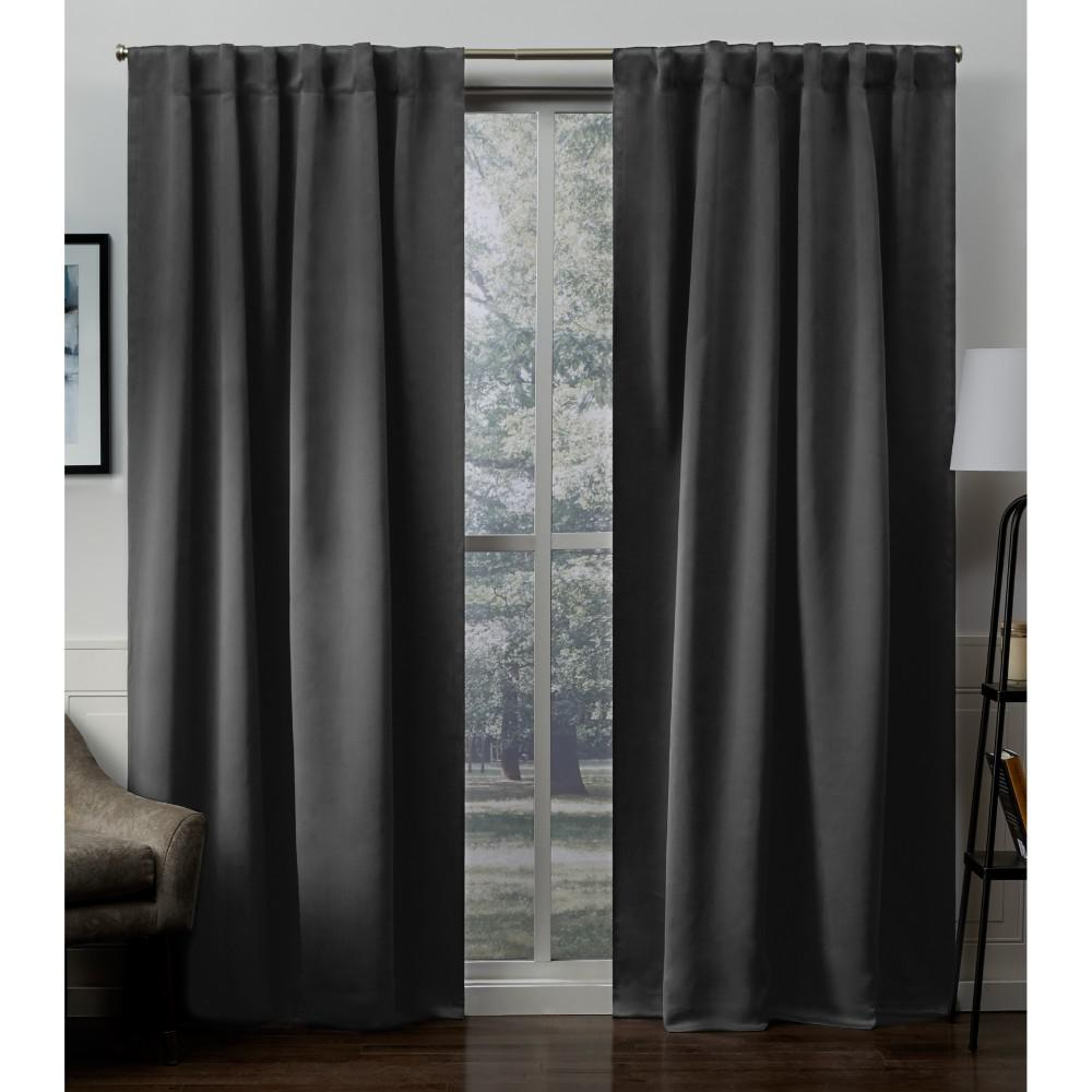 Exclusive Home Curtains Sateen 52 In W X 84 In L Woven Blackout Hidden Tab Top Curtain Panel In Charcoal 2 Panels Eh8299 01 2 84h The Home Depot Home Curtains Exclusive Home Panel Curtains