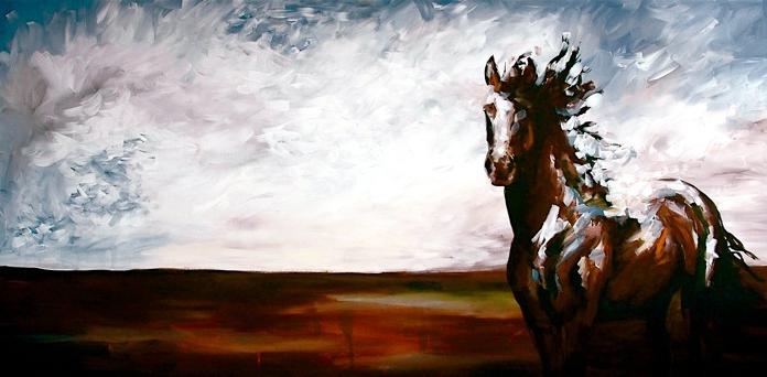 horse art  Beckon by jennifer mack 30x60   Acrylic on Canvas SOLD www.jmackfineart.com