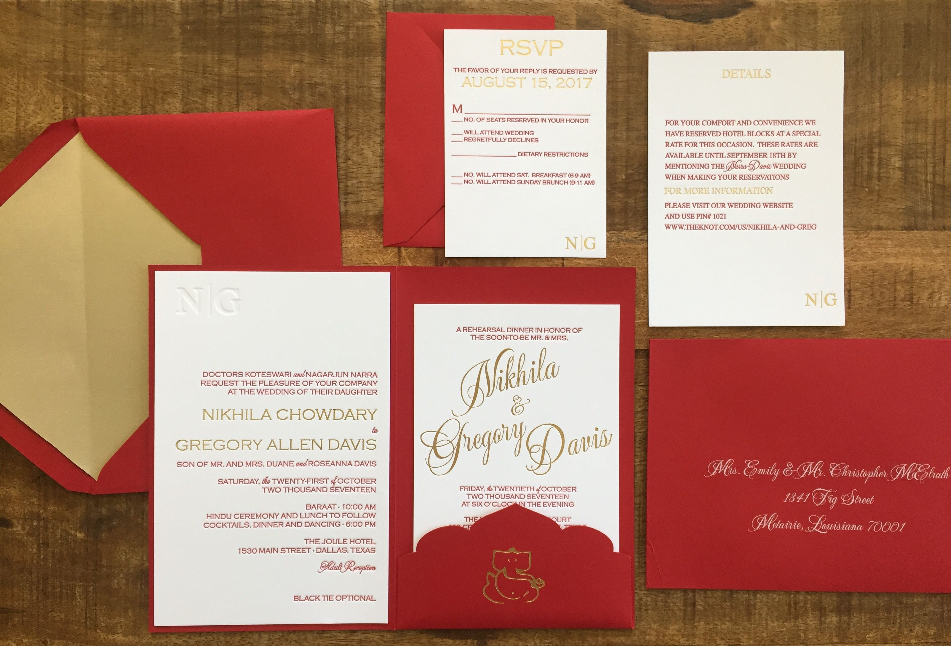 Gorgeous RED custom pocket folder with gold foil and letterpress and ...