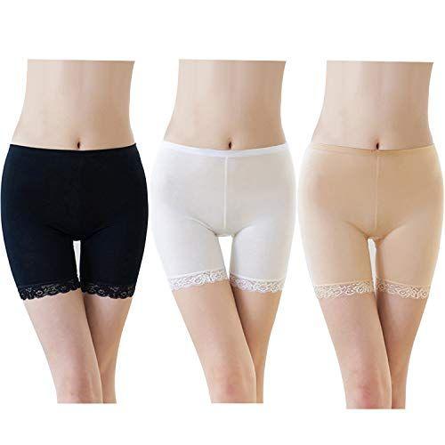 FEPITO 3 Paires Femmes sous Jupe Shorts Pantalon De Sécurité Doux Stretch Dentelle Garniture Leggings Short Pantalon De Yoga Plus