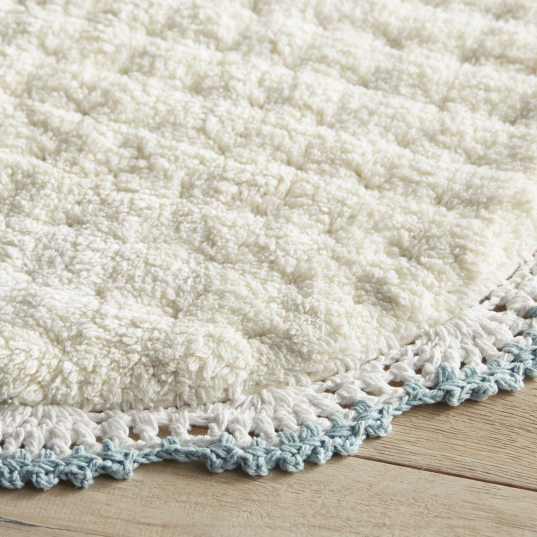 Crochet Edge Mineral Bath Rug Blue | Bathroom | Pinterest