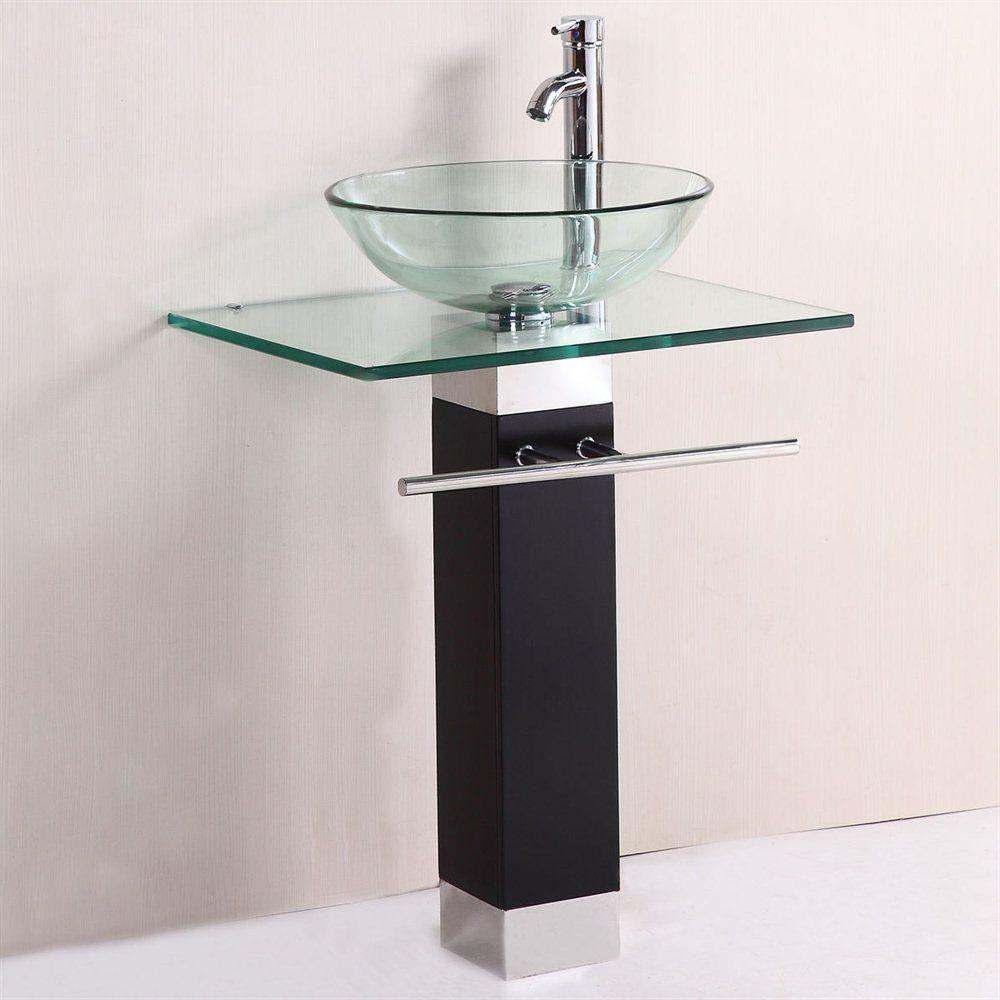 Kokols Wf 09 Bathroom Vanities Wood Pedestal Tempered Glass Vessel