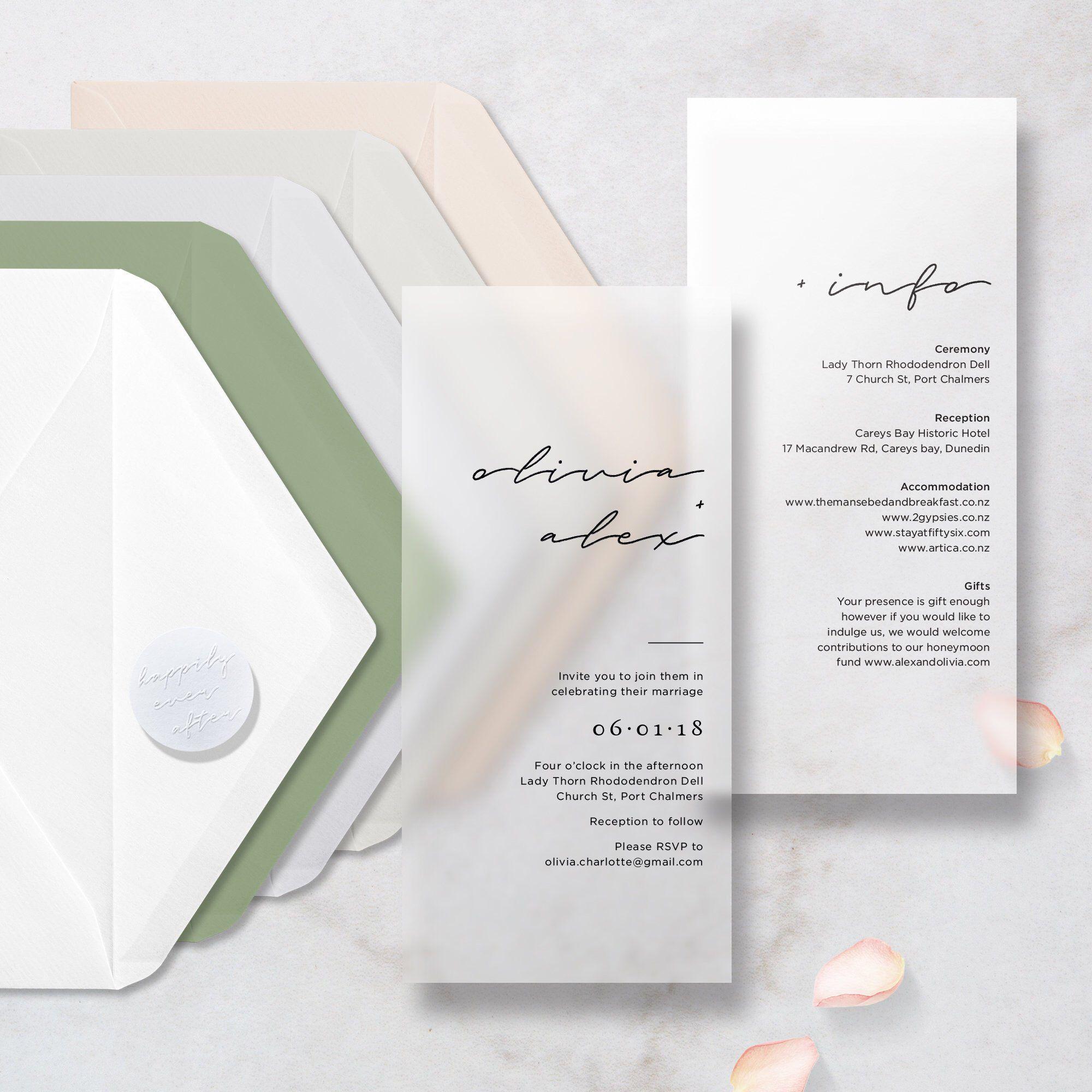 Translucent 2 vellums script wedding invitation includes info card choice of envelope sticker wedding invitation vellum clear minimal minimalism