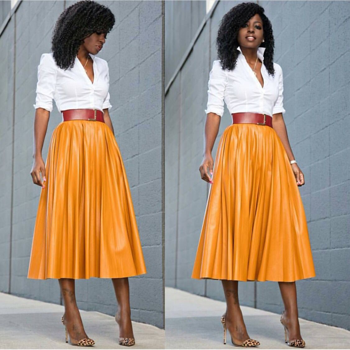 a1513ce9b081e Fresh mango colored skirt combo. Bring creative skirting back! I love this  ensemble.