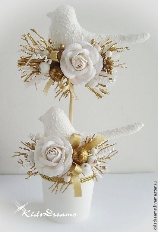 """Купить Птички """"Снежное золото"""" - золотой, белый, золото, Новый Год, рождество, подарок, сувенир"""