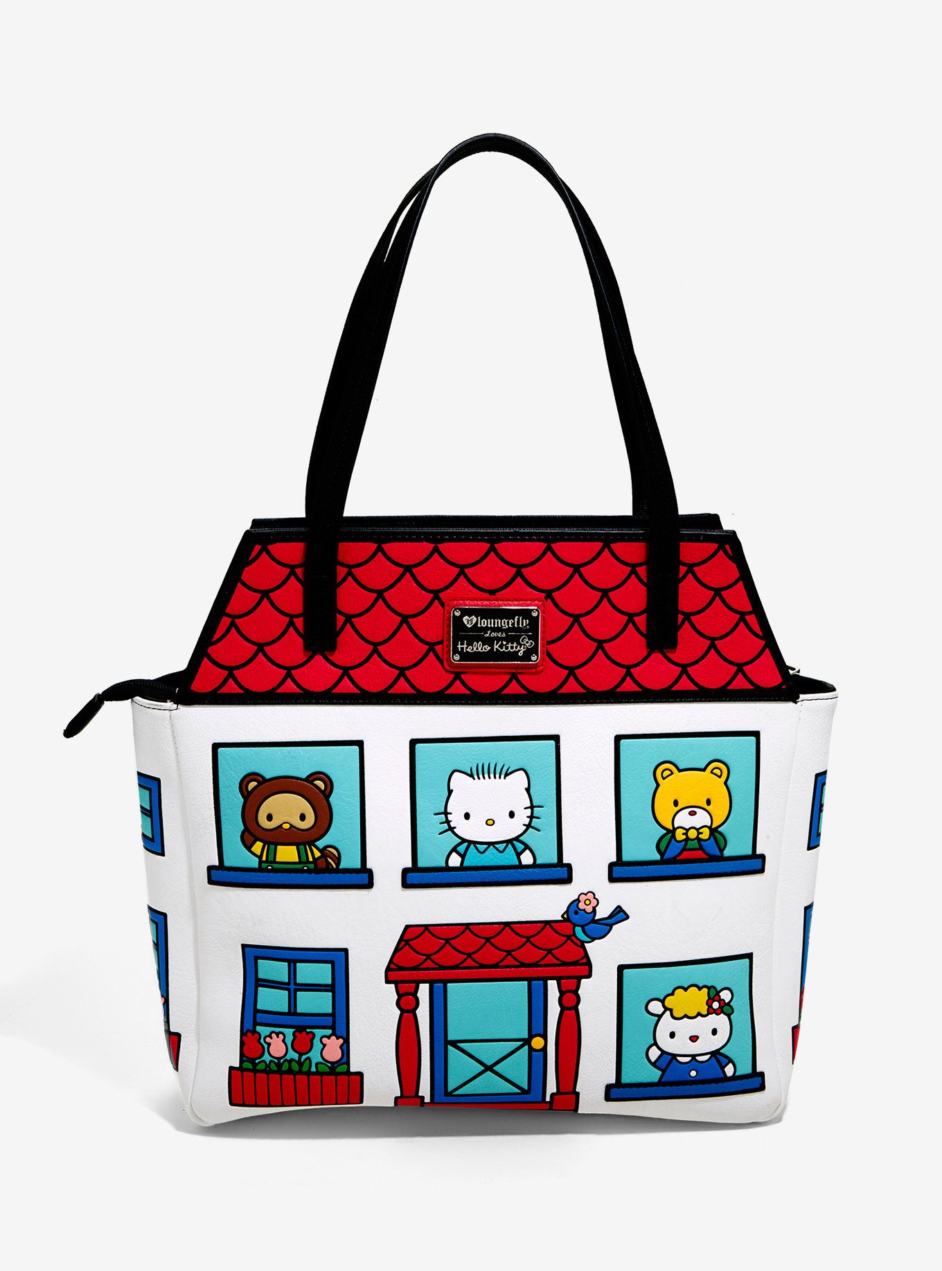 6694df100 Never leave the house without your favorite kitty! This white purse  features Hello Kitty's house and her family! Interior Hello Kitty lining  and interior ...
