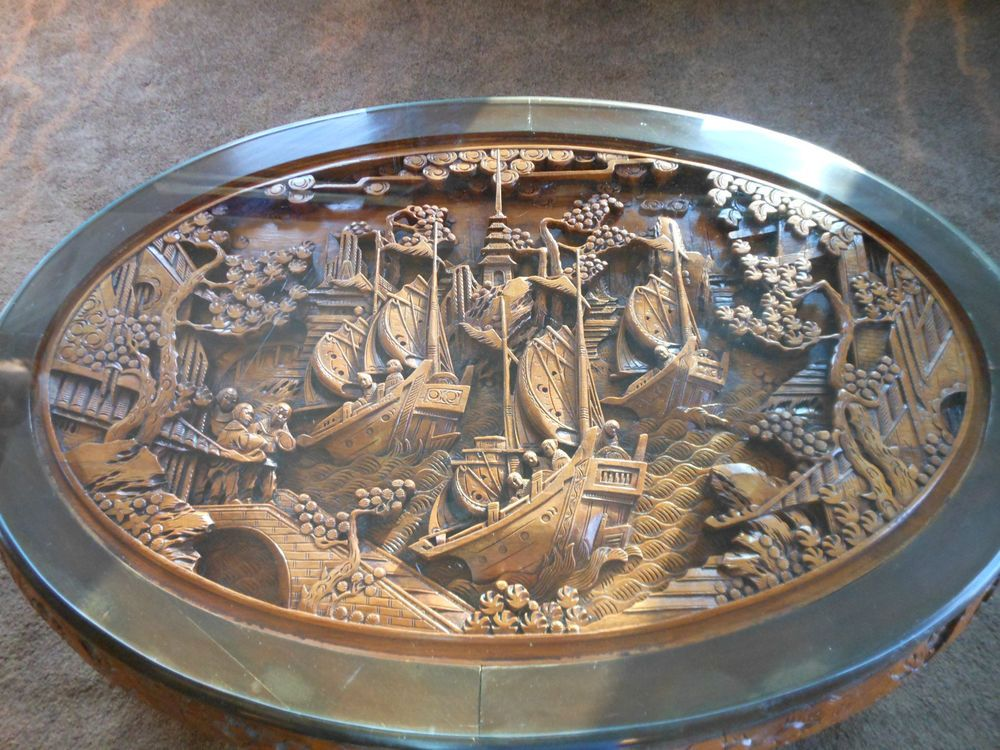 Chinese Antique Hand Carved Teak Wood Tea Table With 6