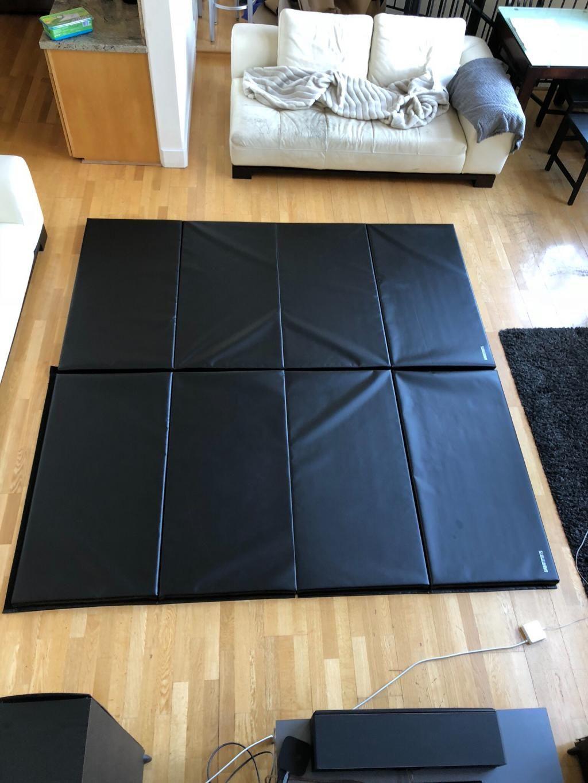 Tumbling Blue Black Gym Mat 4x8 Ft X 2 Inch Folding Gym Mat In 2020 Gym Mats Folding Gym Mat Gymnastics Mats