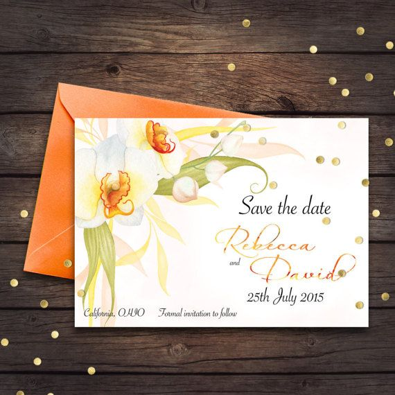 Save the date White and Orange Orchid set Edit Yourself