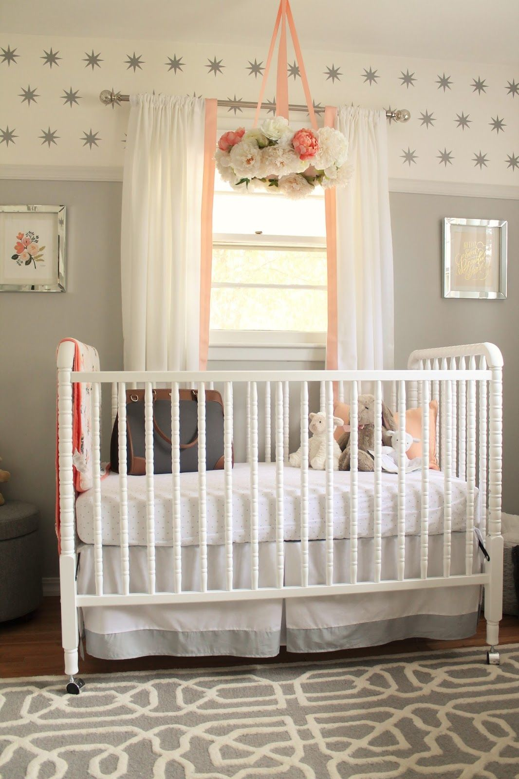 Peach And Gray Nursery Reveal Cribs Crib Skirts Peach