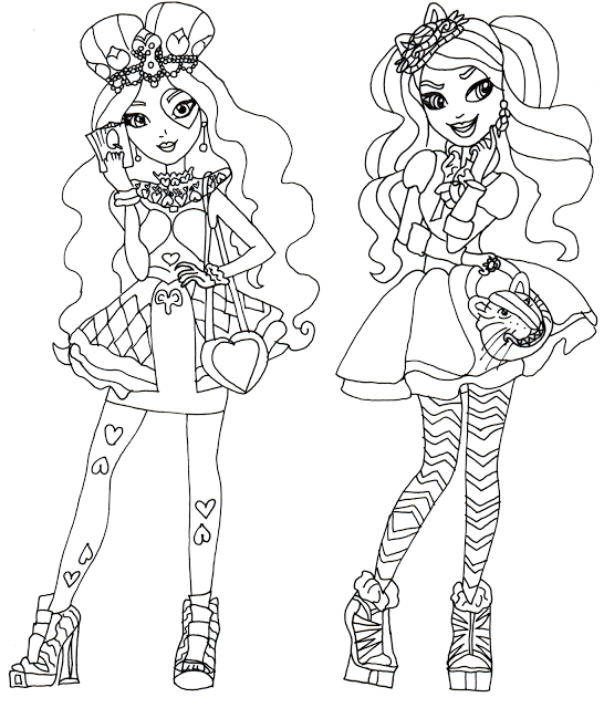 Free Printable Ever After High Coloring Pages Lizzie Hearts And Kitty Cheshire