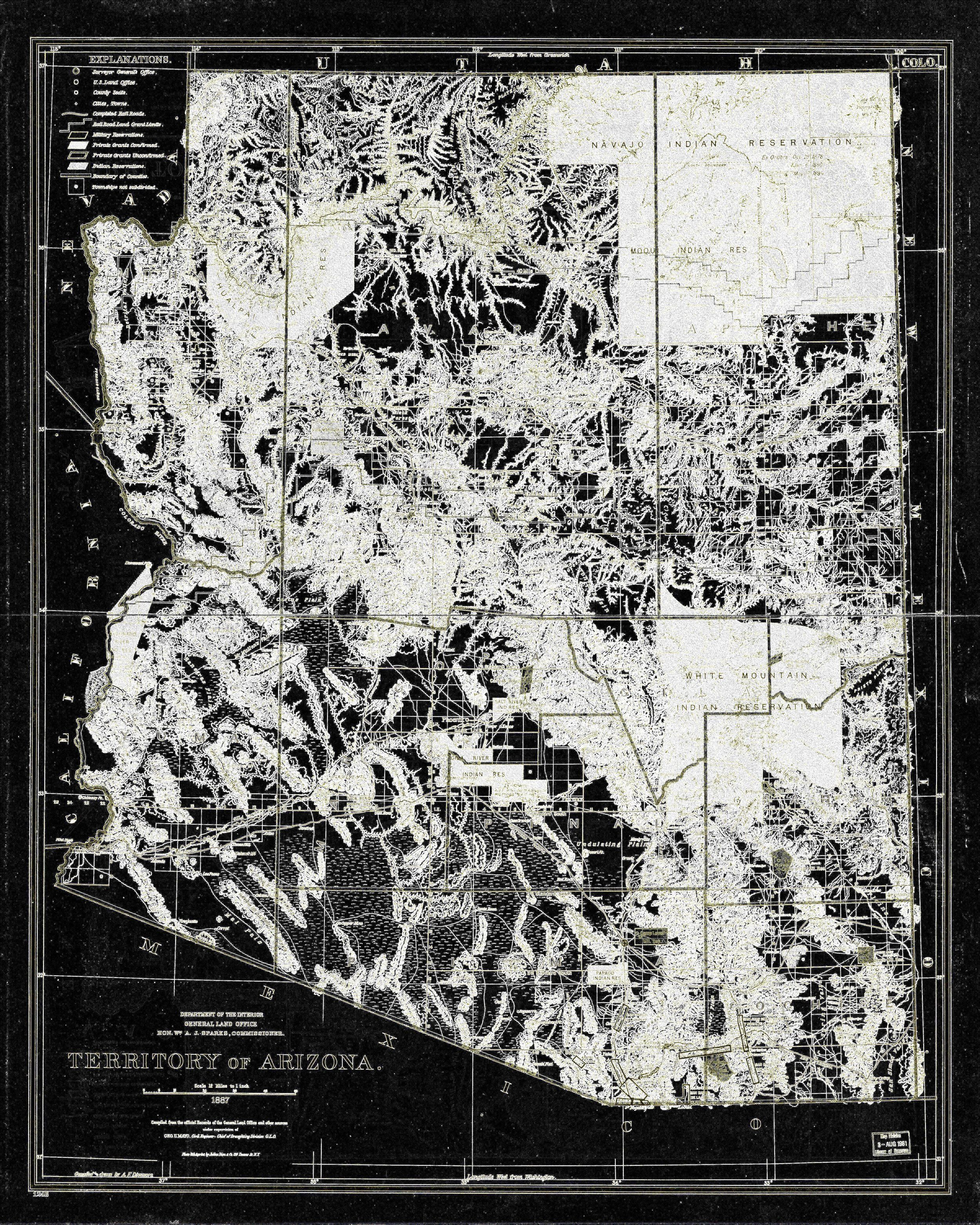 Arizona Abstract Vintage State Map Wall Art Print Decor State