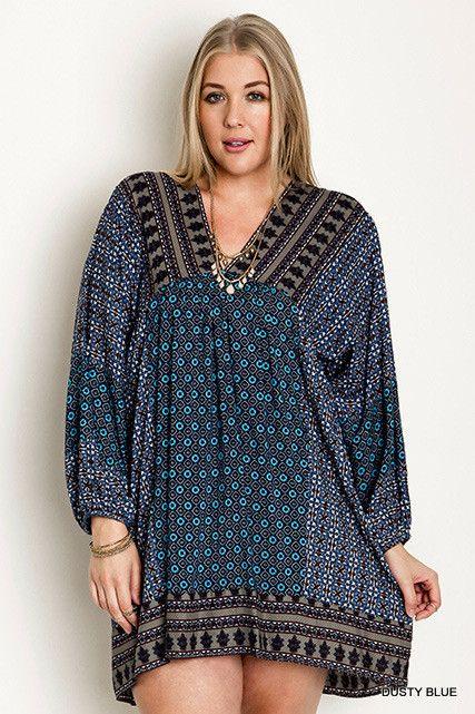Boho Beauty Collection Dusty Blue Country Print Mini Dress Tunic Plus Size  XL 1XL