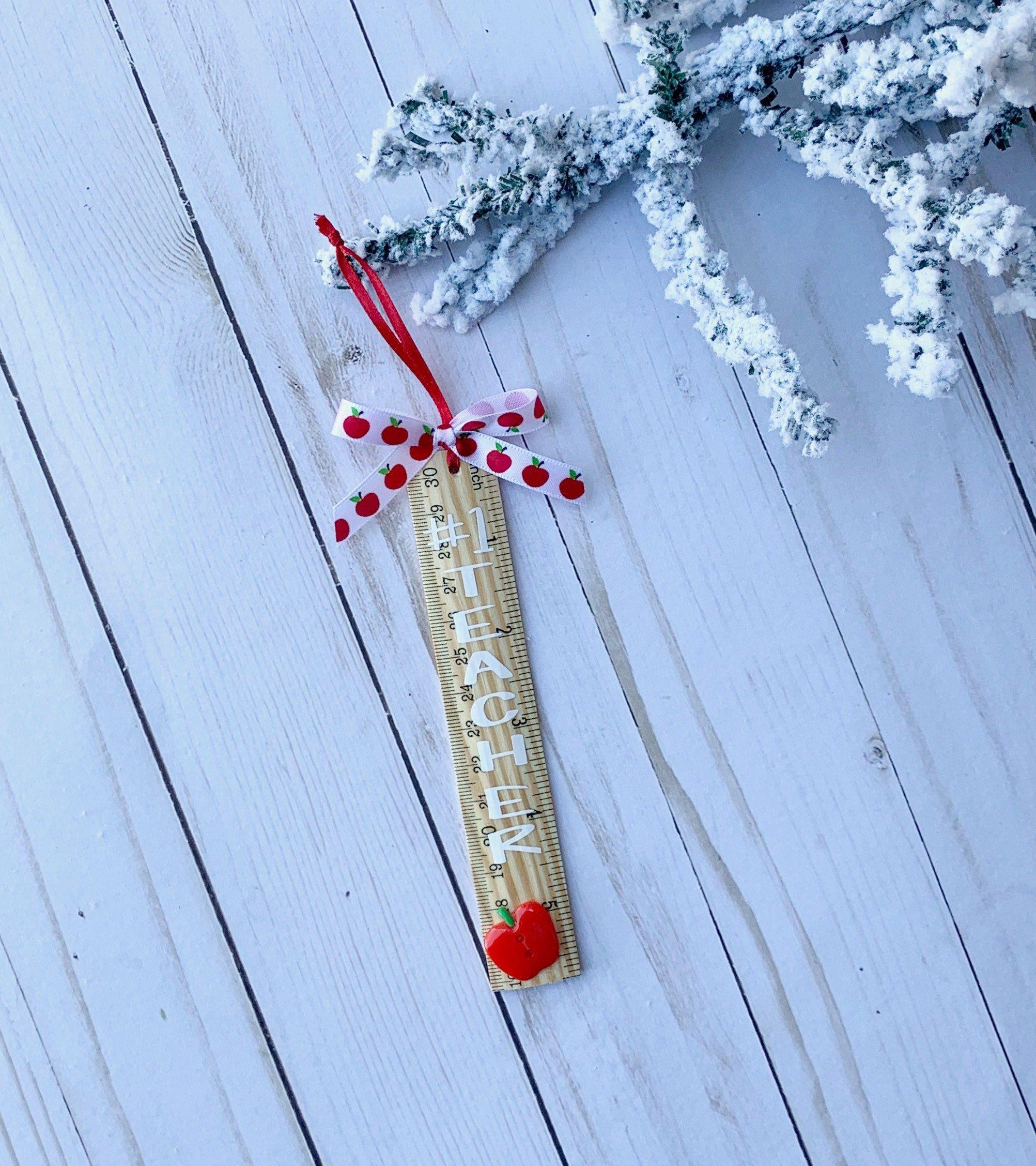 Teacher Ornament, #1 Teacher ornament, Ruler Teacher Ornament, Ornament for teacher, Teacher Gift, Christmas Gift for Teacher.