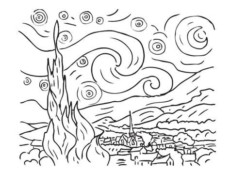 Starry Night And Rhapsody In Blue Activity Van Gogh Coloring