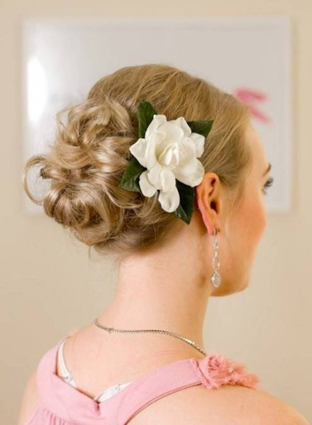 simple flower curly bun bridesmaid hairstyles for short hair