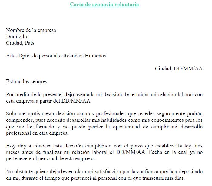 Carta Renuncia Voluntaria Modelo Ejemplos De Carta De